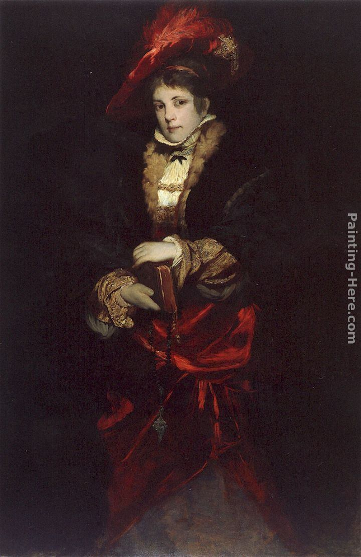 Hans Makart Portrait of a Lady with Red Plumed Hat