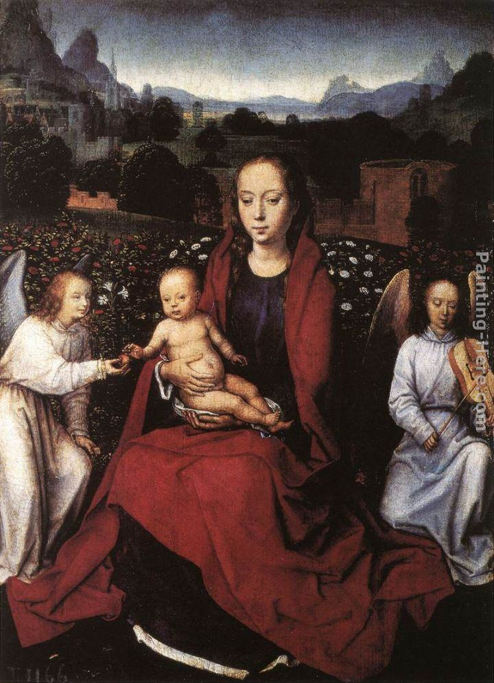 Hans Memling Virgin and Child in a Rose-Garden with Two Angels
