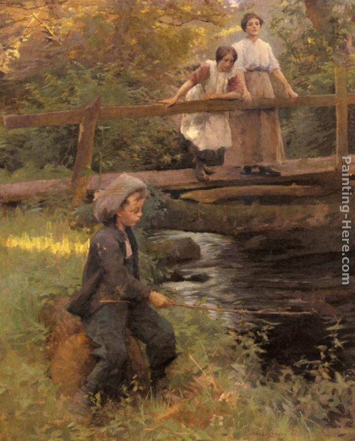 Harold Harvey Fishing By A Forest Stream