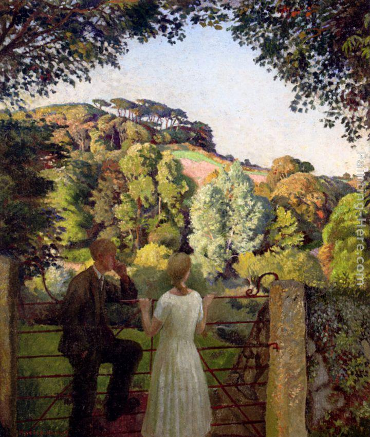 Harold Harvey Midge Bruford And Her Fiance At Chywoone Hill, Newlyn
