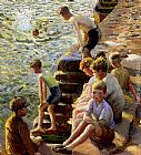 Harold Harvey Boys Bathing painting