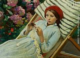 Harold Harvey Girl with a Red Hat painting