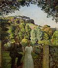 Harold Harvey - Midge Bruford and Her Fiance at Chywoone Hill Newlyn