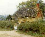 Helen Mary Elizabeth Allingham - A Cottage With Sunflowers At Peaslake