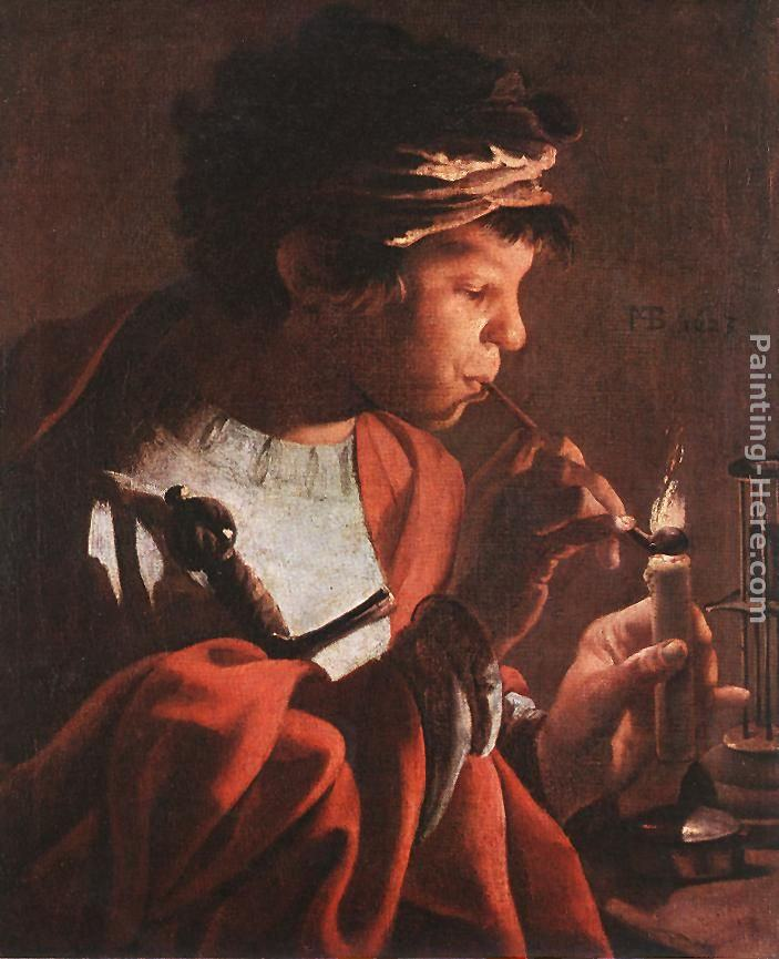 Hendrick Terbrugghen Boy Lighting a Pipe