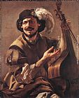 Hendrick Terbrugghen - A Laughing Bravo with a Bass Viol and a Glass