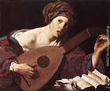 Playing Wall Art - Woman Playing the Lute