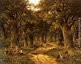 sant Wall Art - Peasants Preparing a Meal near a Wooded Path