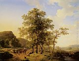 Path Wall Art - A Treelined River Landscape with Figures and Cattle an a Path