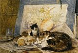 Henriette Ronner-Knip A Cat and her Kittens in the Artists Studio painting