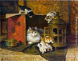 Famous Cat Paintings - A Mother Cat Watching Her Kittens Playing