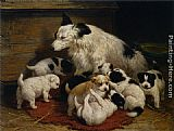 Famous Dog Paintings - A dog and her puppies
