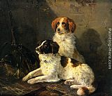 Henriette Ronner-Knip Two Spaniels Waiting for the Hunt painting