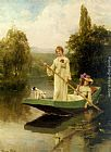 lad Wall Art - Two Ladies Punting on the River