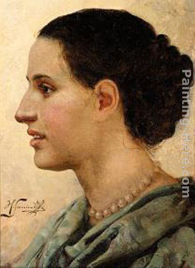 Henryk Hector Siemiradzki Portrait of a Young Woman