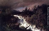 Herman Herzog Mountain Landscape and Waterfall painting
