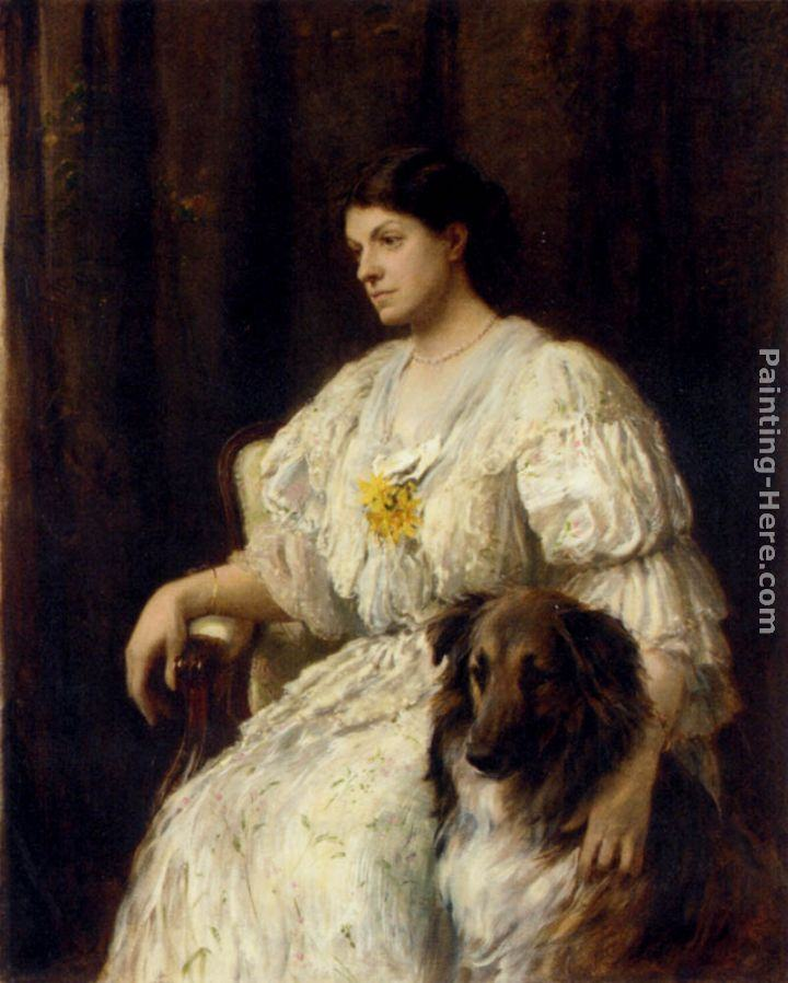 Heywood Hardy Portrait of a lady with her collie, seated, three-quarter length