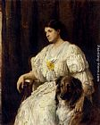 lad Wall Art - Portrait of a lady with her collie, seated, three-quarter length