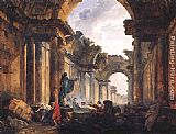 view Wall Art - Imaginary View of the Grande Galerie in the Louvre in Ruins