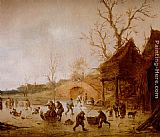 Famous Ice Paintings - A Winter Landscape With Skaters, Children Playing Kolf And Figures With Sledges On The Ice Near A Bridge