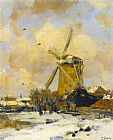 Jacob Henricus Maris - A Windmill in a Winter Landscape