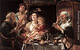Jacob Jordaens As the Old Sang the Young Play Pipes painting