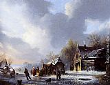 Jacobus Van Der Stok - Skaters On A Frozen River Near A 'Koek En Zopie'