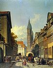 Jacques Carabain - A Busy Street in a German Town