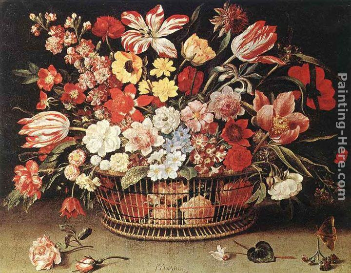 Jacques Linard Basket of Flowers