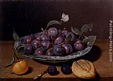 Jacques Linard - Still Life Of A Plate Of Plums And A Loaf Of Bread