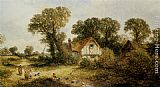 James Edwin Meadows - Childrem by a Country Cottage