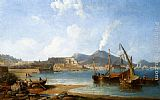 James Wilson Carmichael - The Bay Of Naples With Vesuvius Beyond