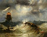 James Wilson Carmichael - The Irwin Lighthouse Storm Raging