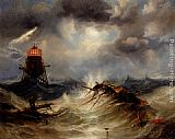 James Wilson Carmichael - The Irwin Lighthouse, Storm Raging