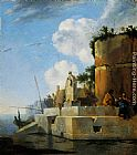 Jan Asselyn - A Waterside Ruin in Italy