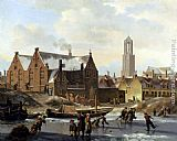 Famous Canal Paintings - Skaters On A Frozen Canal