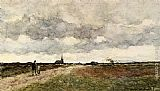 Jan Hendrik Weissenbruch - Figures On A Country Road, A Church In The Distance