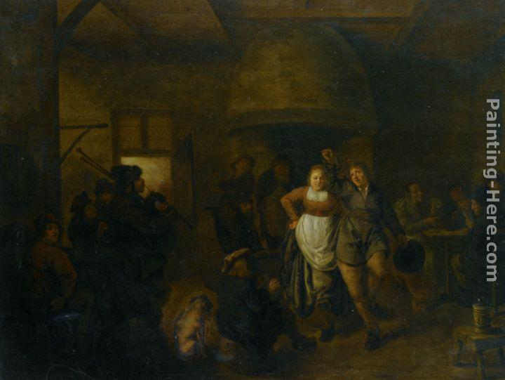 Jan Miense Molenaer A Tavern Interior with a Bagpiper and a Couple Dancing