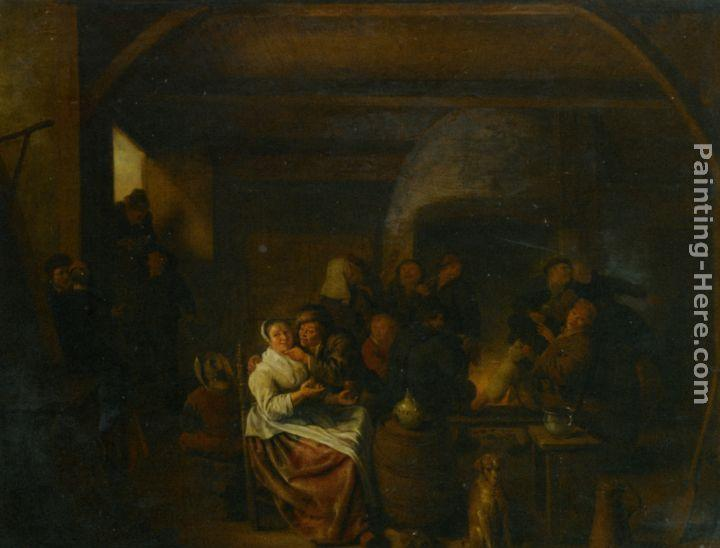 Jan Miense Molenaer The Interior of a Tavern with Peasants Cavorting and Drinking