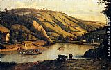 Famous Cattle Paintings - An Extensive River landscape, Probably Derbyshire, With Drovers And Their Cattle In The Foreground
