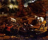 Stream Wall Art - Figures With A Cart And Horses Fording A Stream