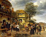 Famous Inn Paintings - Peasants outside an Inn