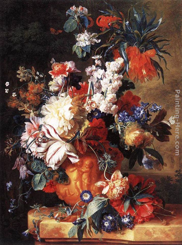 Jan Van Huysum Bouquet of Flowers in an Urn