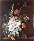 Jan Van Huysum Hollyhocks and Other Flowers in a Vase painting