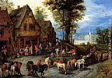Jan the elder Brueghel - A Village Street With The Holy Family Arriving At An Inn