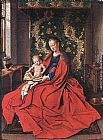 Jan Van Eyck Canvas Paintings - Madonna with the Child Reading