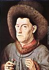Jan Van Eyck Canvas Paintings - Portrait of a Man with Carnation
