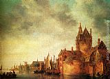 Jan van Goyen - A Castle By A River With Shipping At A Quay