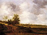 Jan van Goyen - A rural landscape with peasants and a drover by a track, a village beyond