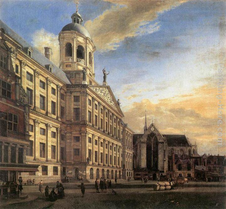 Jan van der Heyden Amsterdam, Dam Square with the Town Hall and the Nieuwe Kerk